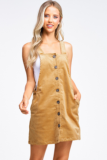 $25 - Cute cheap dark blue washed denim button up pocketed frayed hem crop jean jacket - Camel tan corduroy button up pocketed boho retro overall pinafore mini dress