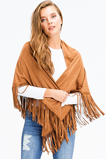 $13 - Cute cheap dark blue washed denim low rise fringe trim ankle fitted skinny jeans - camel tan faux suede fringe trim asymmetric hem boho cape shawl top