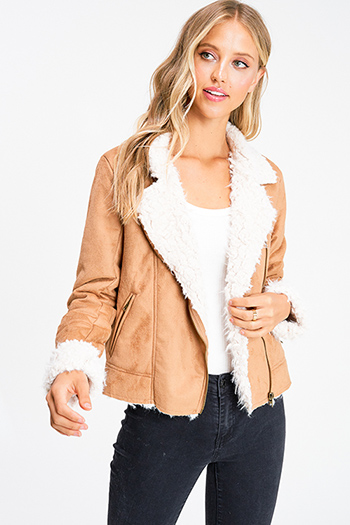 $35 - Cute cheap white asymmetrical hem quarter sleeve zip up fitted blazer jacket top - Camel tan faux suede sherpa fleece lined zip up pocketed fitted moto jacket