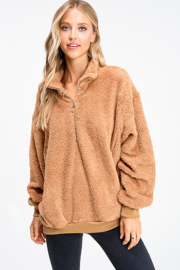 $30 - Cute cheap charcoal gray long sleeve double breasted button up hooded pocketed jacket - Camel tan fuzzy fleece long sleeve quarter zip pocketed pullover teddy jacket