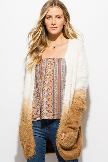 $15 - Cute cheap midnight navy blue chevron stripe textured long sleeve fuzzy sweater knit top - camel tan ombre fuzzy sweater knit long sleeve open front boho cardigan
