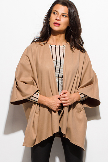 $20 - Cute cheap cobalt blue textured open front hooded fuzzy sweater knit cardigan vest top - camel tan open front quarter sleeve kimono cape coat jacket top