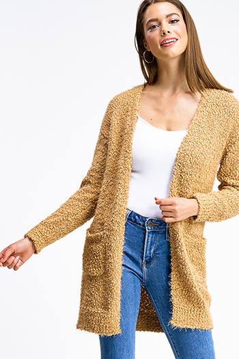$25 - Cute cheap mustard yellow ruffle tiered apron front button trim wide leg boho culotte jumpsuit - Camel tan popcorn knit long sleeve open front pocketed boho fuzzy sweater cardigan