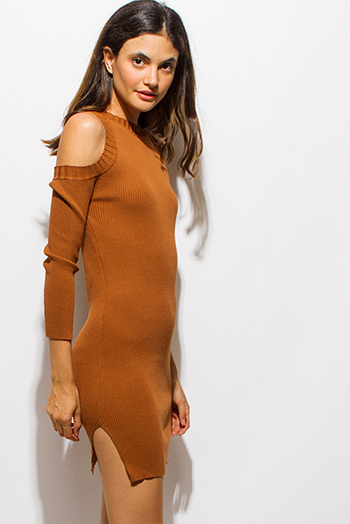 $20 - Cute cheap ruffle evening mini dress - camel tan ribbed knit long sleeve cold shoulder sweater knit sexy club mini dress