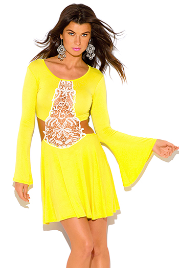 $10 - Cute cheap backless babydoll cocktail dress - canary yellow crochet cut out backless bell sleeve boho summer sexy party mini sun dress