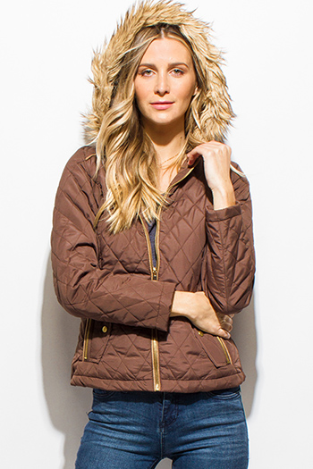 $15 - Cute cheap black quilted faux fur lined asymmetrical zip up puffer bomber jacket - caramel brown quilted long sleeve zip up pocketed faux fur lined hooded zip up puffer jacket