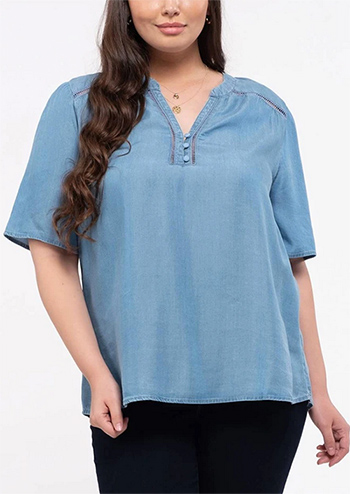 $18.75 - Cute cheap chambray crochet trim plus size woven top