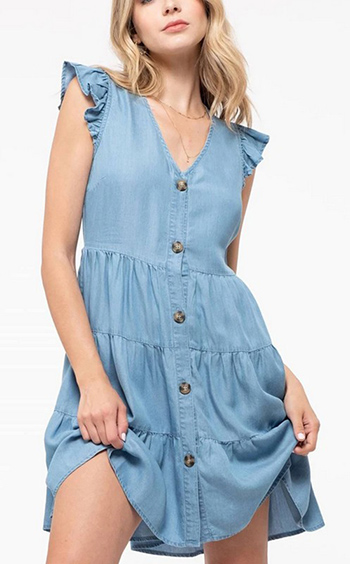 $23.00 - Cute cheap chambray mini dress