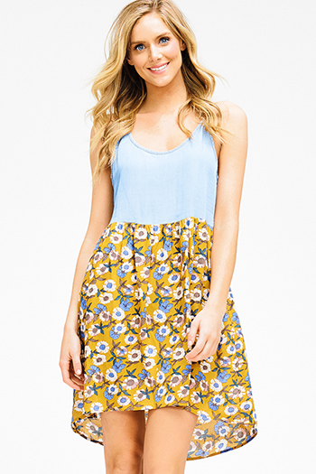 $15 - Cute cheap open back evening jumpsuit - chambray mustard yellow floral print contrast smocked racer back boho mini sun dress