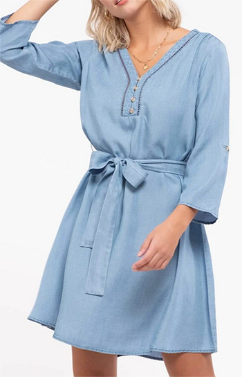 $24.50 - Cute cheap chambray mini dress - chambray v-neck mini dress with belt