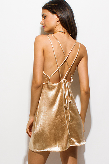 $15 - Cute cheap khaki gold metallic abstract ikat print sleeveless tunic top knit mini dress - champagne gold crinkle satin criss cross caged backless cocktail sexy party cami mini dress