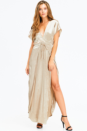 $13 - Cute cheap blue multicolor ethnic print smocked off shoulder resort boho maxi sun dress - champagne gold metallic crinkle satin deep v neck surplice slit short sleeve evening sexy party maxi dress