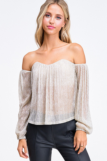 $20 - Cute cheap white semi sheer chiffon keyhole mock neck half sleeve button up peplum blouse top - Champagne gold sheer lurex metallic off shoulder long sleeve sexy party blouse top