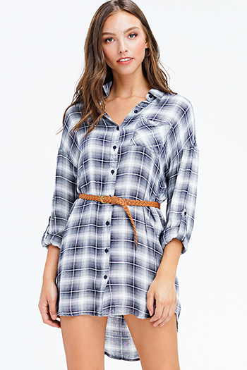 $12 - Cute cheap pocketed boho mini dress - charcoal and navy plaid long sleeve belted button up tunic top boho mini shirt dress