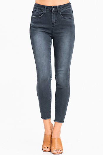 $20 - Cute cheap olive green denim mid rise distressed frayed double button skinny jeans - charcoal black washed denim high waisted frayed hem stretchy skinny jeans