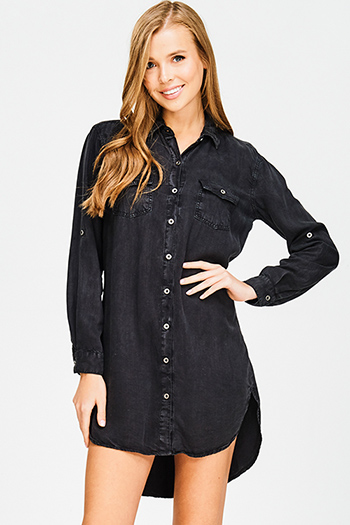 $15 - Cute cheap slit wrap sun dress - charcoal black washed tencel button up long sleeve boho mini shirt dress