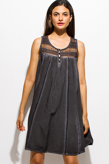 $15 - Cute cheap caged fitted mini dress - charcoal gray acid wash sleeveless sheer crochet lace boho peasant mini dress