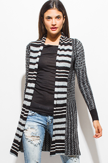 $20 - Cute cheap career wear - charcoal gray black striped abstract print long sleeve open front fuzzy sweater knit cardigan