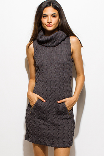 $15 - Cute cheap draped sexy club dress - charcoal gray cable knit cowl turtleneck pocketed sweater mini dress