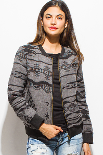 $15 - Cute cheap print fringe jacket - charcoal gray ethnic print long sleeve knit pocketed zip up bomber jacket