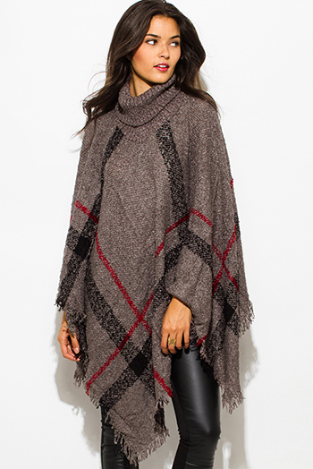 $25 - Cute cheap brown plaid print flannel long sleeve frayed hem button up blouse tunic top - charcoal gray giant checker plaid fuzzy boho knit poncho sweater jacket tunic top