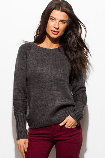$15 - Cute cheap charcoal gray long sleeve boat neck ribbed sweater knit top