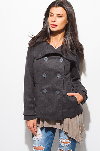 $20 - Cute cheap black puff shoulder long sleeve double breasted peacoat wool jacket - charcoal gray long sleeve double breasted pocketed peacoat jacket