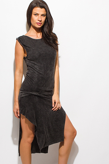 $15 - Cute cheap open back fitted midi dress - charcoal gray mineral acid wash sleeveless knotted side slit midi dress