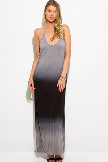 $15 - Cute cheap print draped backless dress - charcoal gray ombre washed cut out backless evening maxi sun dress