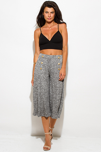 $10 - Cute cheap ribbed wide leg pants - charcoal gray ribbed knit button embellished evening wide leg capri pants