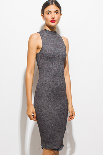 $15 - Cute cheap baroque open back dress - charcoal gray ribbed knit mock neck sleeveless bodycon fitted midi dress