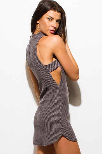 $15 - Cute cheap wrap sexy club midi dress - charcoal gray ribbed sweater knit mock neck cut out rounded hem club mini dress