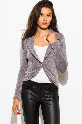 $10 - Cute cheap charcoal gray cotton blend black trim cold shoulder long sleeve bodycon fitted bodysuit top - charcoal gray ribbed textured single button fitted blazer jacket top