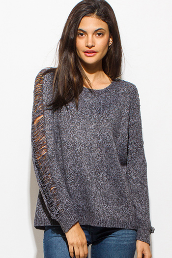 $20 - Cute cheap charcoal gray scoop neck ripped distressed long sleeve boho sweater knit top