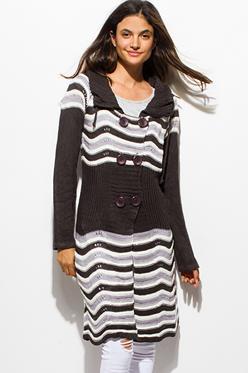 $20 - Cute cheap charcoal gray striped color block button up chunky sweater knit duster cardigan jacket