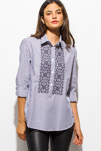 $15 - Cute cheap navy blue plaid cotton gauze quarter sleeve button up blouse top - charcoal gray striped embroidered quarter sleeve button up boho blouse pinstripe top