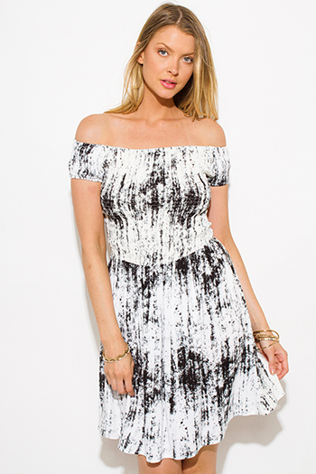 $15 - Cute cheap metallic ruched mini dress - charcoal gray tie dye print off shoulder strapless smocked boho mini sun dress