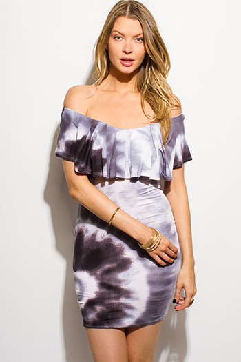 $15 - Cute cheap print wrap dress - charcoal gray tie dye print ruffle off shoulder boho fitted sexy club mini dress