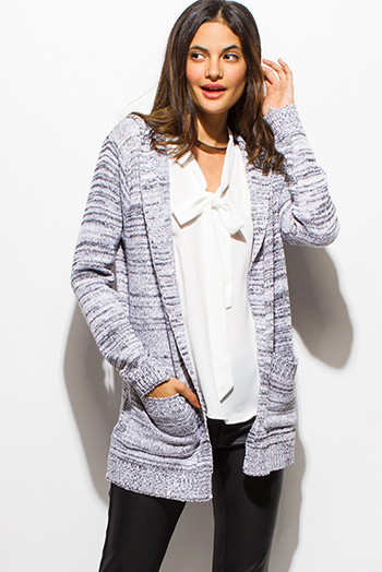 $15 - Cute cheap navy blue crochet knit fringe trim open front shawl poncho cardigan jacket - charcoal gray two toned sweater knit hooded pocketed open front cardigan jacket