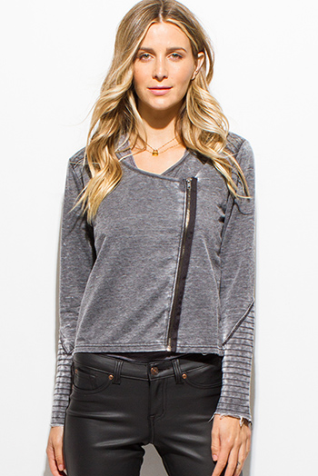 $12 - Cute cheap black textured long sleeve asymmetrical hem zip up fitted jacket top - charcoal gray vintage wash cotton blend asymmetrical zip up moto jacket