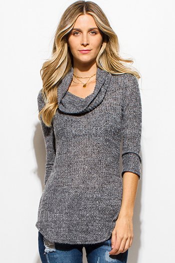 $15 - Cute cheap charcoal gray waffle knit quarter sleeve cowl neck cut out back sweater top