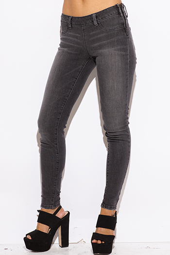 $15 - Cute cheap dark blue denim ripped distressed mid rise fitted skinny jeans - charcoal gray washed denim fitted skinny jeans