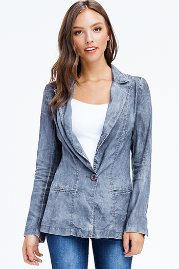 $20 - Cute cheap blue washed denim mid rise distressed frayed ripped skinny fit jeans - charcoal grey acid washed linen long sleeve single button summer blazer jacket