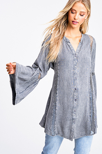 $20 - Cute cheap ruched fitted dress - Charcoal grey acid washed long bell sleeve crochet trim button up boho tunic mini shirt dress