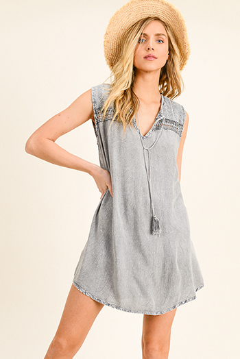 $18 - Cute cheap blue washed denim cuffed short sleeve button up pocketed mini shirt dress - Charcoal grey acid washed sleeveless crochet lace trim boho shift peasant mini dress