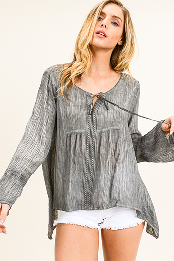 $15 - Cute cheap ruched blouse - Charcoal grey acid washed tassel tie neck long bell sleeve boho peasant blouse top