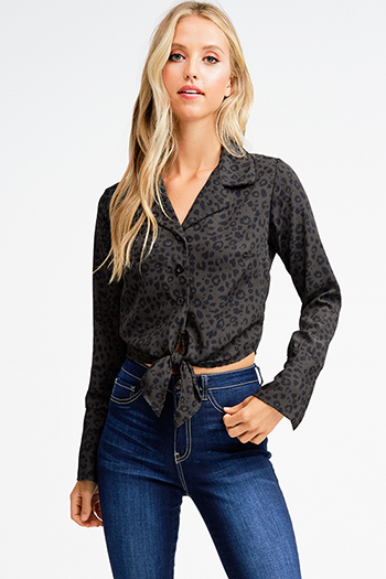 $15 - Cute cheap print off shoulder top - Charcoal grey animal cheetah print tie front long sleeve button up cropped boho blouse top