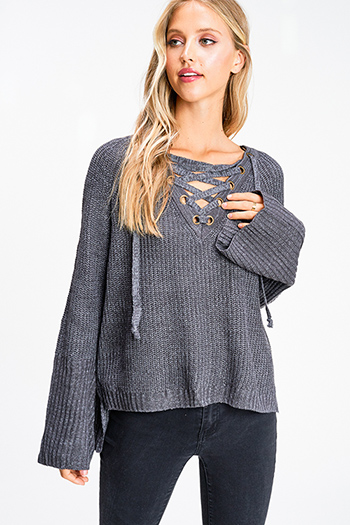 $25 - Cute cheap Charcoal grey caged eyelet laceup front long bell sleeve boho sweater top