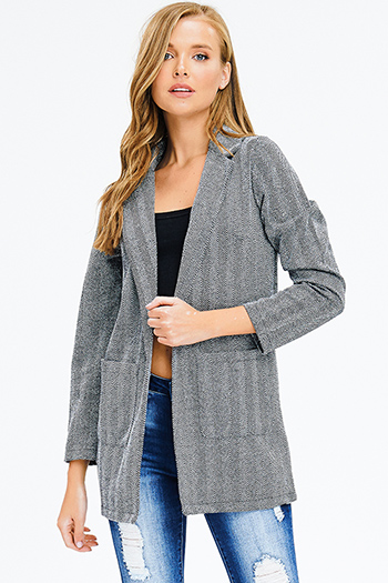 $25 - Cute cheap navy blue crochet knit fringe trim open front shawl poncho cardigan jacket - charcoal grey chevron print tweed long sleeve open front pocketed blazer coat jacket