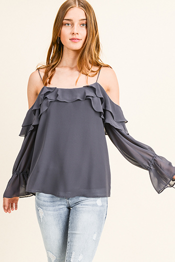 $15 - Cute cheap print sheer sexy party blouse - Charcoal grey chiffon ruffled cold shoulder long bell sleeve blouse top